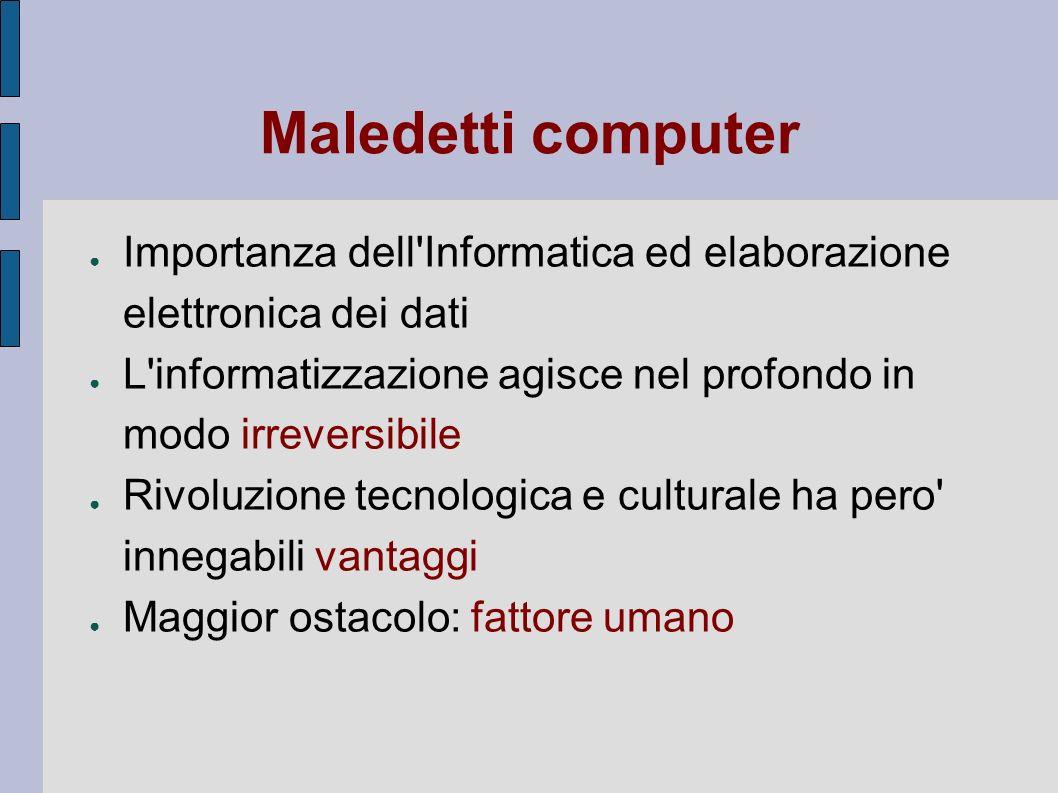 Maledetti computer Importanza dell'Informatica ed elaborazione elettronica dei dati L'informatizzazione agisce nel profondo in modo irreversibile Rivo