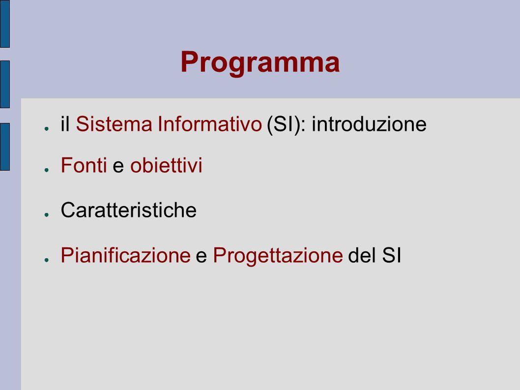 Programma il Sistema Informativo (SI): introduzione Fonti e obiettivi Caratteristiche Pianificazione e Progettazione del SI