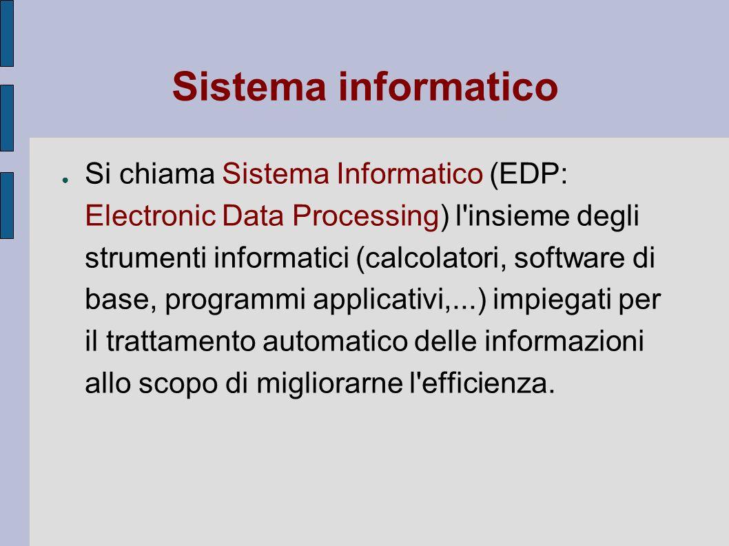 Sistema informatico Si chiama Sistema Informatico (EDP: Electronic Data Processing) l'insieme degli strumenti informatici (calcolatori, software di ba