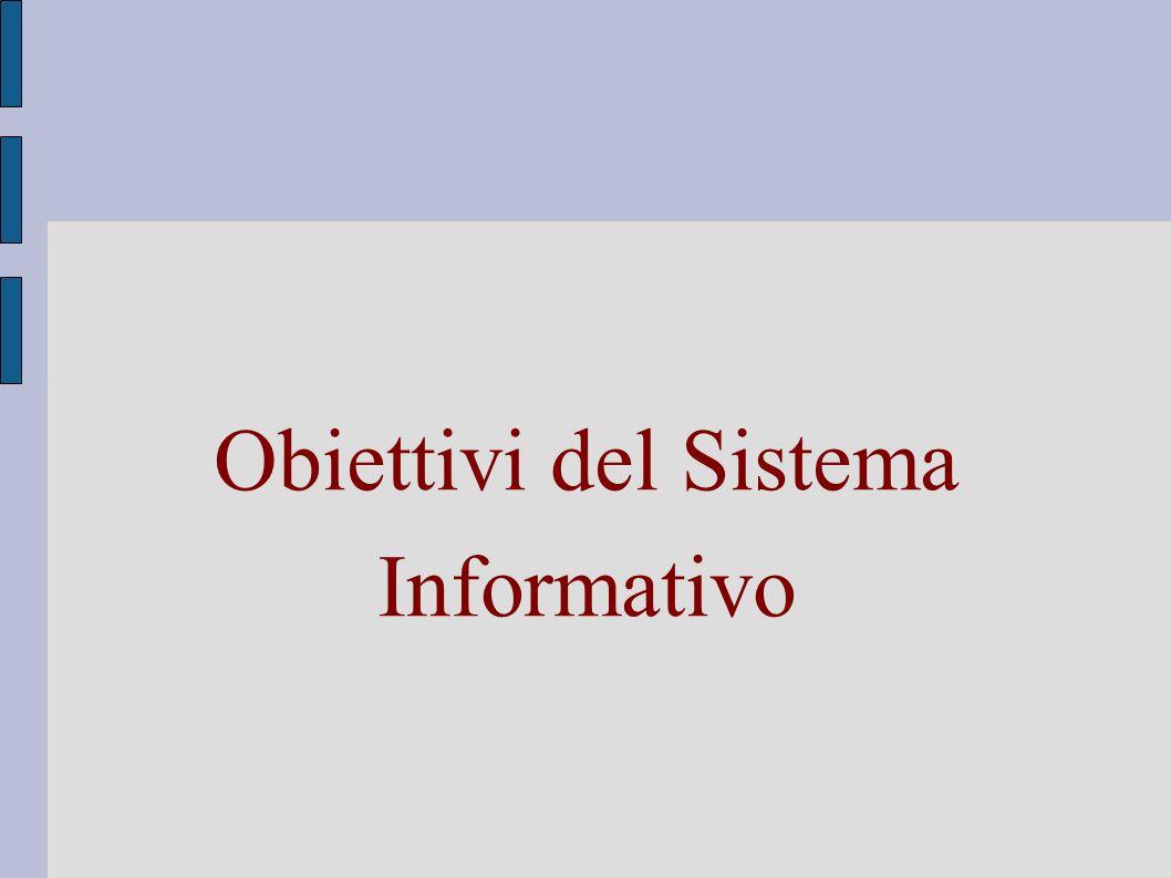 Obiettivi del Sistema Informativo