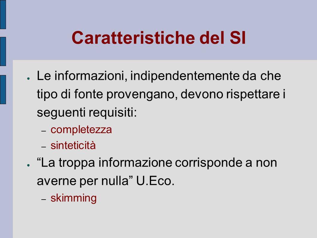 Caratteristiche del SI Le informazioni, indipendentemente da che tipo di fonte provengano, devono rispettare i seguenti requisiti: – completezza – sin