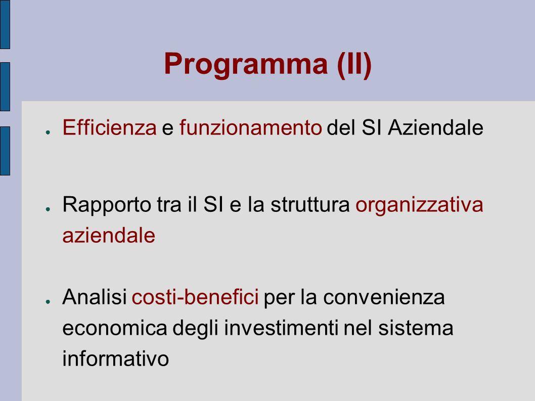 Programma (II) Efficienza e funzionamento del SI Aziendale Rapporto tra il SI e la struttura organizzativa aziendale Analisi costi-benefici per la con