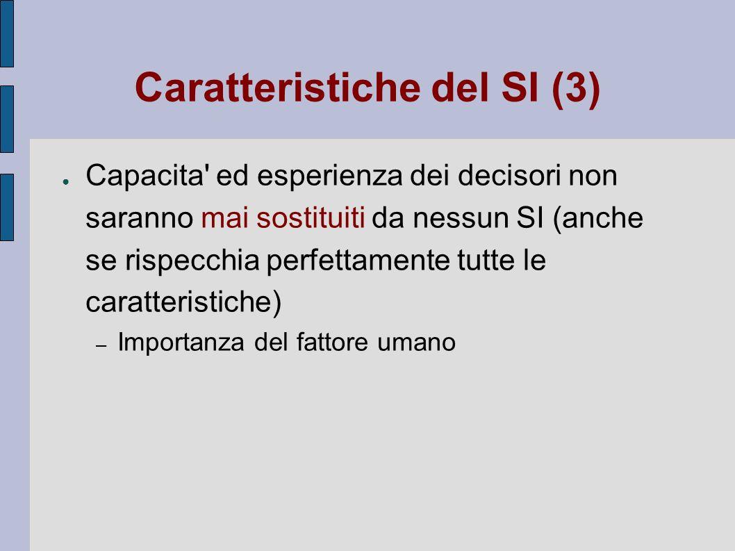 Caratteristiche del SI (3) Capacita' ed esperienza dei decisori non saranno mai sostituiti da nessun SI (anche se rispecchia perfettamente tutte le ca