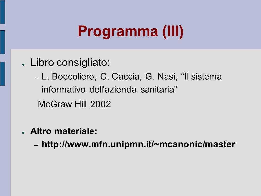 Programma (III) Libro consigliato: – L. Boccoliero, C. Caccia, G. Nasi, Il sistema informativo dell'azienda sanitaria McGraw Hill 2002 Altro materiale