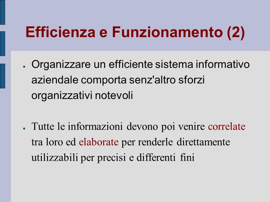 Efficienza e Funzionamento (2) Organizzare un efficiente sistema informativo aziendale comporta senz'altro sforzi organizzativi notevoli Tutte le info