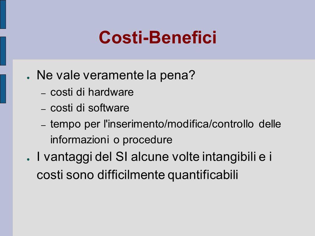 Costi-Benefici Ne vale veramente la pena? – costi di hardware – costi di software – tempo per l'inserimento/modifica/controllo delle informazioni o pr
