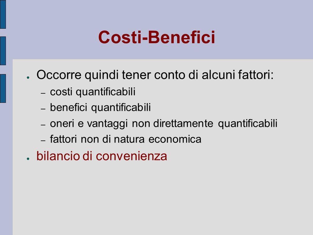 Costi-Benefici Occorre quindi tener conto di alcuni fattori: – costi quantificabili – benefici quantificabili – oneri e vantaggi non direttamente quan