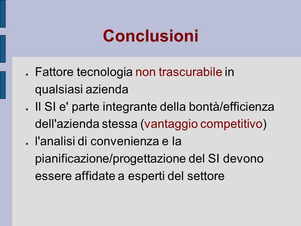 Conclusioni Fattore tecnologia non trascurabile in qualsiasi azienda Il SI e' parte integrante della bontà/efficienza dell'azienda stessa (vantaggio c