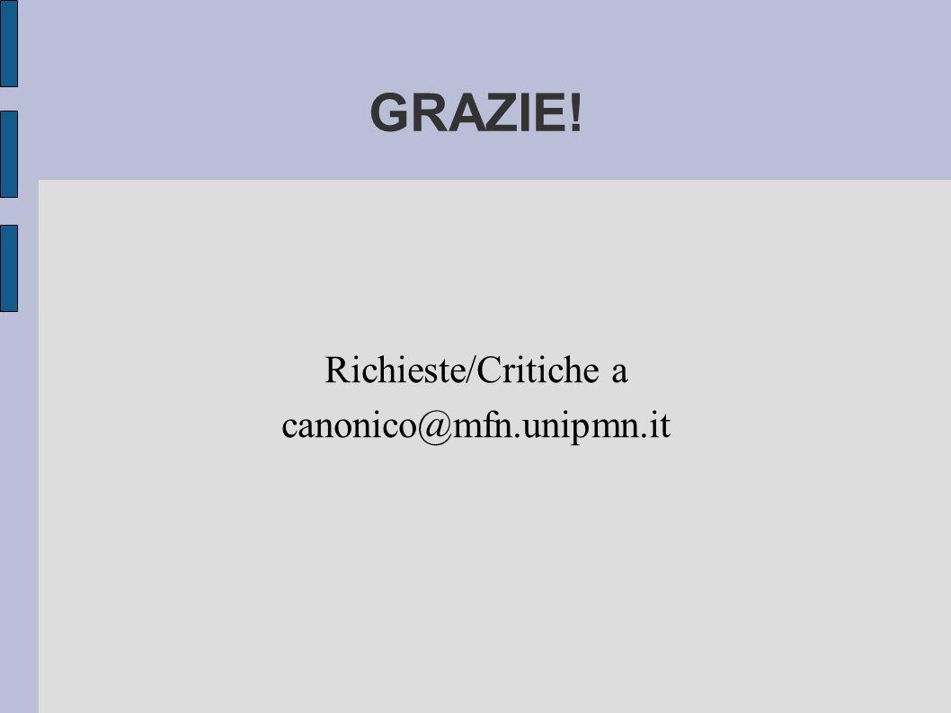 GRAZIE! Richieste/Critiche a canonico@mfn.unipmn.it