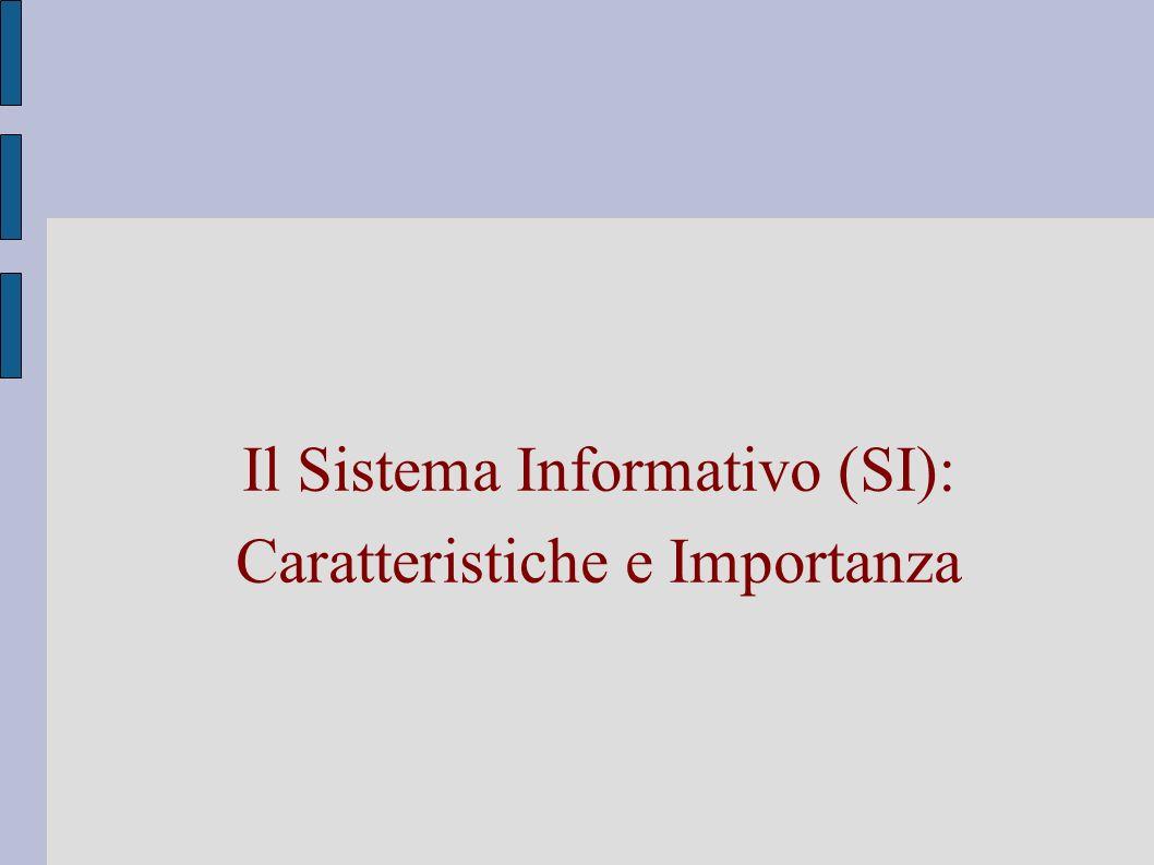Il Sistema Informativo (SI): Caratteristiche e Importanza