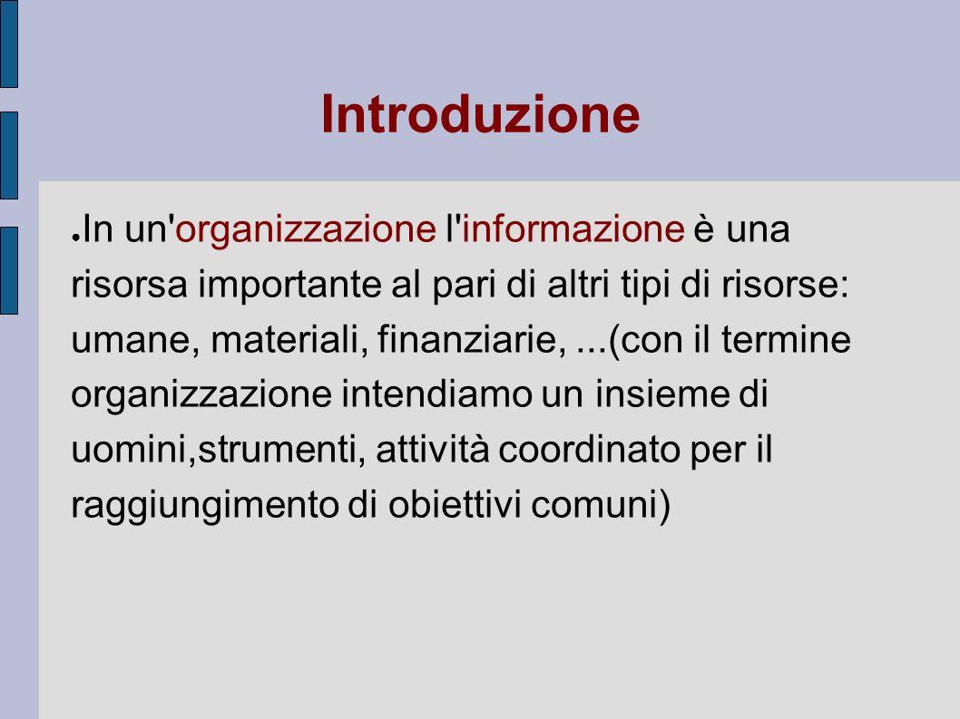 Introduzione In un'organizzazione l'informazione è una risorsa importante al pari di altri tipi di risorse: umane, materiali, finanziarie,...(con il t