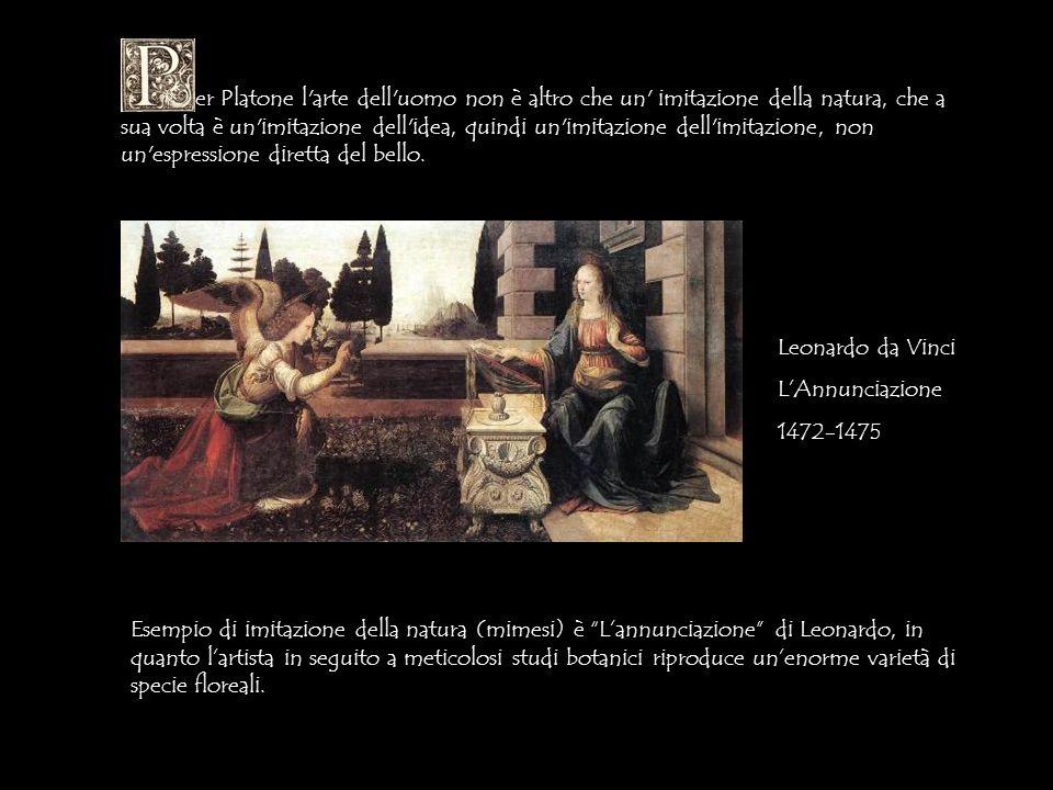 er Platone l'arte dell'uomo non è altro che un' imitazione della natura, che a sua volta è un'imitazione dell'idea, quindi un'imitazione dell'imitazio