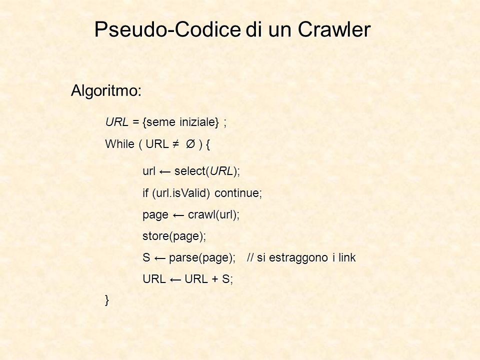 Pseudo-Codice di un Crawler Algoritmo: URL = {seme iniziale} ; While ( URL Ø ) { url select(URL); if (url.isValid) continue; page crawl(url); store(pa