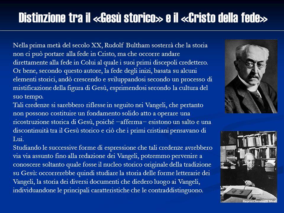 Distinzione tra il «Gesù storico» e il «Cristo della fede» Nella prima metà del secolo XX, Rudolf Bultham sosterrà che la storia non ci può portare al