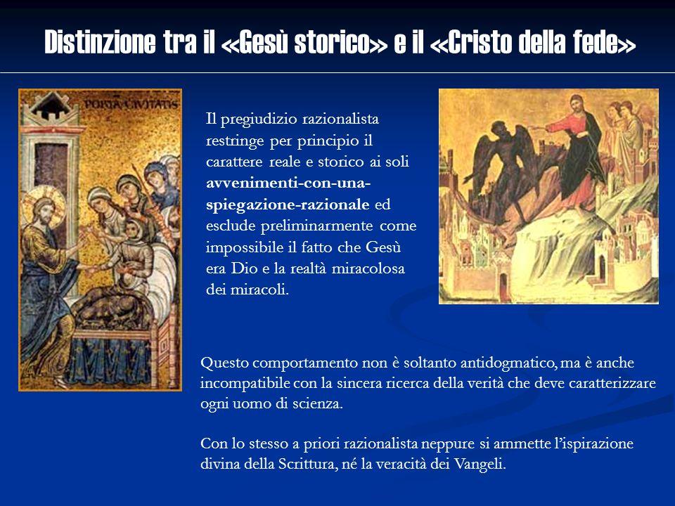 Distinzione tra il «Gesù storico» e il «Cristo della fede» Questo comportamento non è soltanto antidogmatico, ma è anche incompatibile con la sincera
