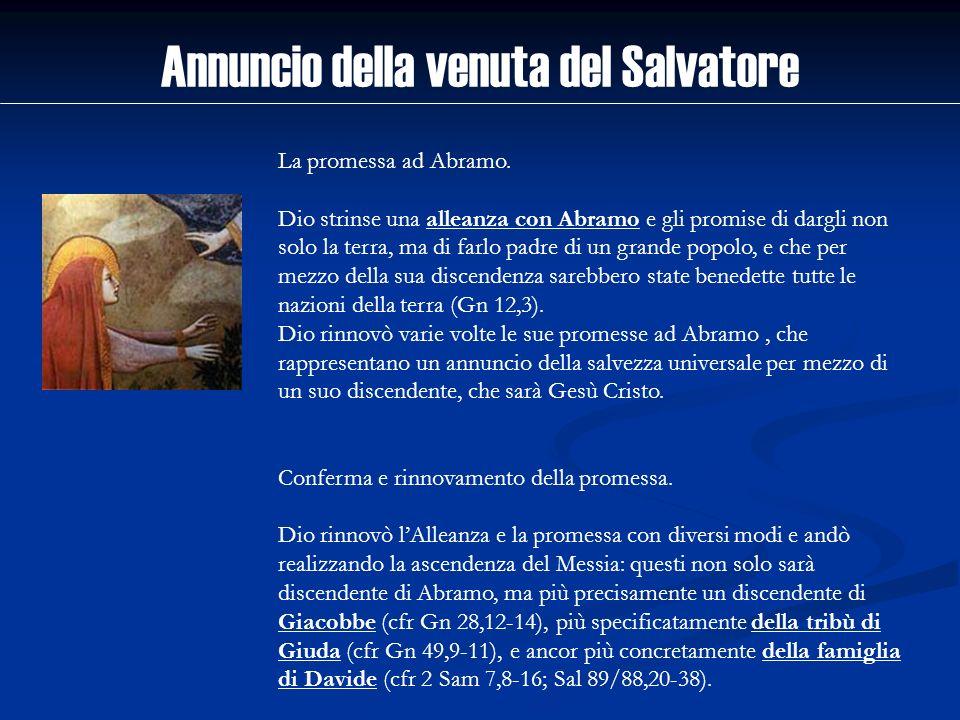 Annuncio della venuta del Salvatore La promessa ad Abramo. Dio strinse una alleanza con Abramo e gli promise di dargli non solo la terra, ma di farlo