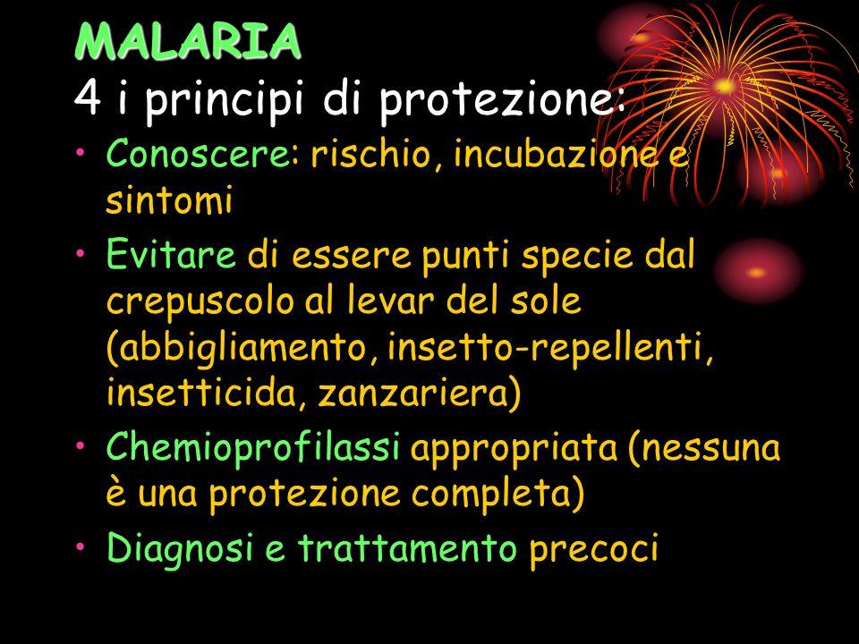 MALARIA MALARIA 4 i principi di protezione: Conoscere: rischio, incubazione e sintomi Evitare di essere punti specie dal crepuscolo al levar del sole