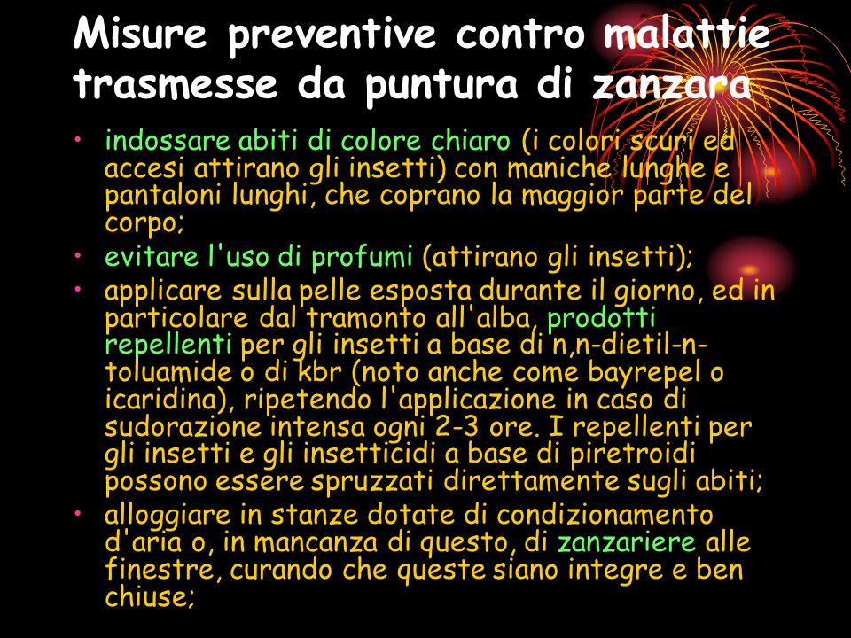 Misure preventive contro malattie trasmesse da puntura di zanzara indossare abiti di colore chiaro (i colori scuri ed accesi attirano gli insetti) con