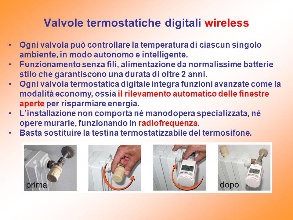 Valvole termostatiche digitali wireless Ogni valvola può controllare la temperatura di ciascun singolo ambiente, in modo autonomo e intelligente. Funz