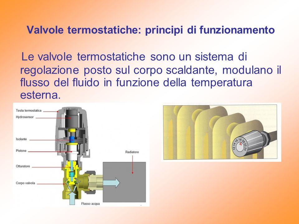 Valvole termostatiche: principi di funzionamento Le valvole termostatiche sono un sistema di regolazione posto sul corpo scaldante, modulano il flusso