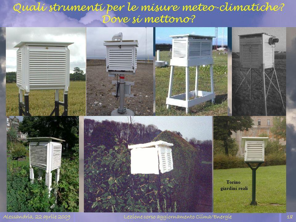 Alessandria, 22 aprile 2009Lezione corso aggiornamento Clima/Energie18 Torino giardini reali Quali strumenti per le misure meteo-climatiche? Dove si m