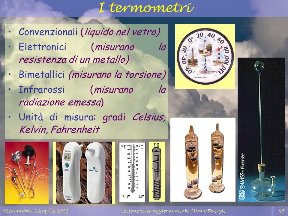 Alessandria, 22 aprile 2009Lezione corso aggiornamento Clima/Energie19 I termometri Convenzionali (liquido nel vetro) Elettronici (misurano la resiste