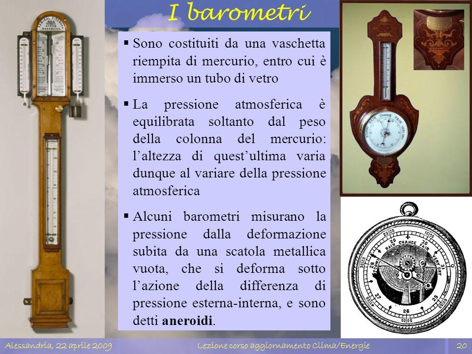 Alessandria, 22 aprile 2009Lezione corso aggiornamento Clima/Energie20 I barometri Sono costituiti da una vaschetta riempita di mercurio, entro cui è