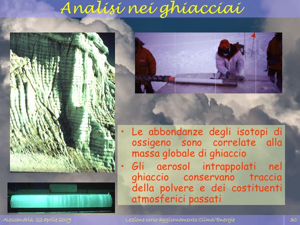 Alessandria, 22 aprile 2009Lezione corso aggiornamento Clima/Energie30 Analisi nei ghiacciai Le abbondanze degli isotopi di ossigeno sono correlate al