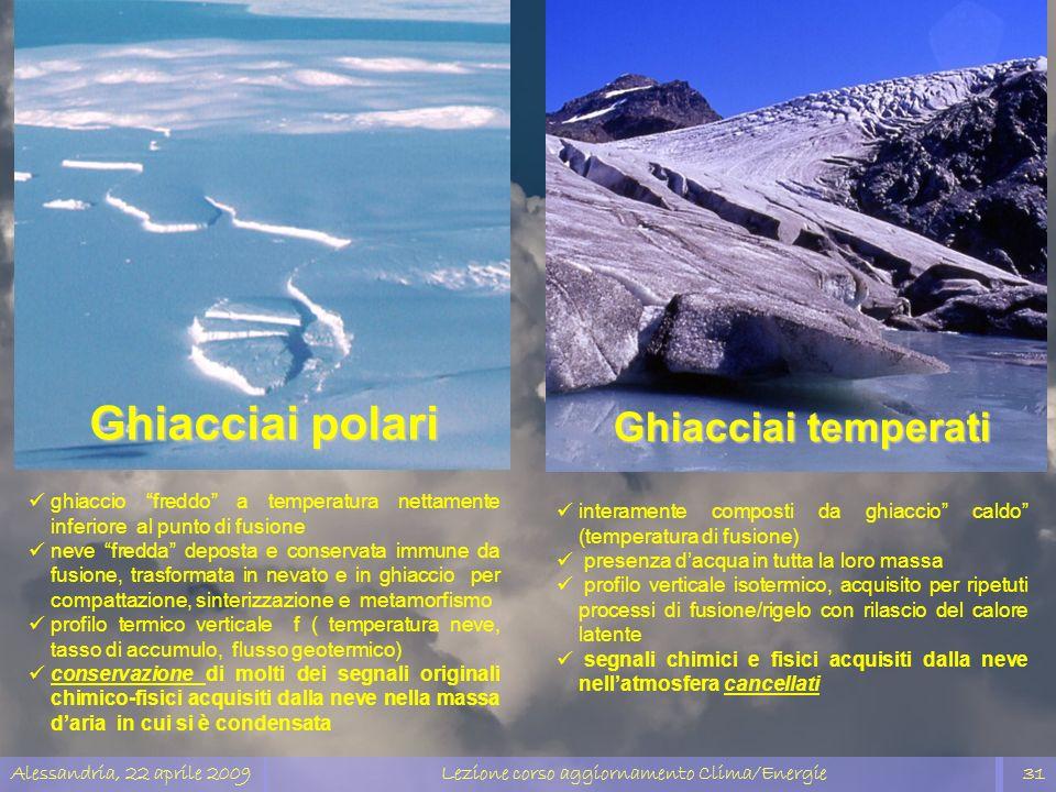 Alessandria, 22 aprile 2009Lezione corso aggiornamento Clima/Energie31 Ghiacciai polari Ghiacciai temperati ghiaccio freddo a temperatura nettamente i