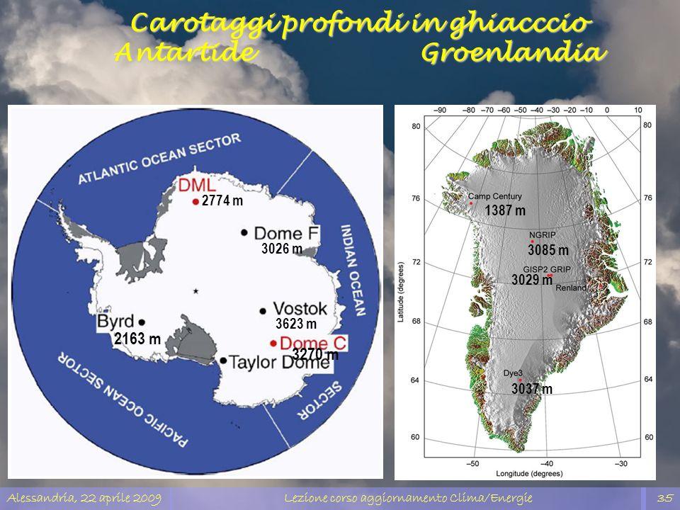 Alessandria, 22 aprile 2009Lezione corso aggiornamento Clima/Energie35 Carotaggi profondi in ghiacccio Antartide Groenlandia 2774 m 3026 m 3623 m 3270