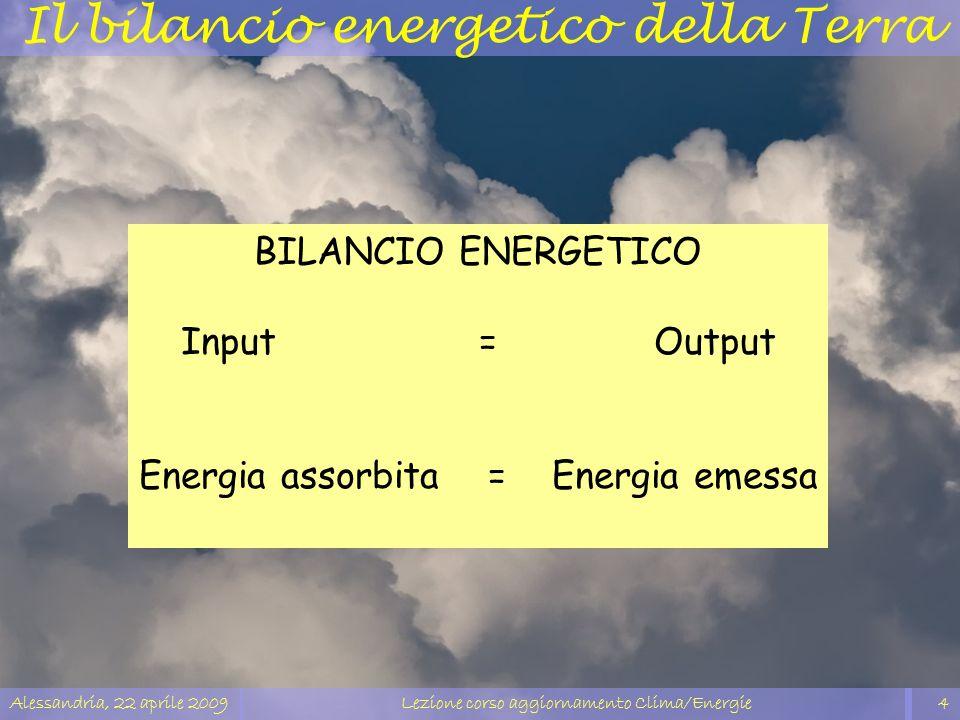 Alessandria, 22 aprile 2009Lezione corso aggiornamento Clima/Energie4 Il bilancio energetico della Terra BILANCIO ENERGETICO Input = Output Energia as