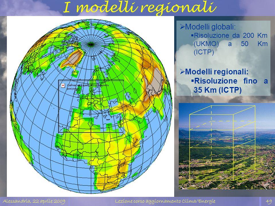 Alessandria, 22 aprile 2009Lezione corso aggiornamento Clima/Energie49 Modelli globali: Risoluzione da 200 Km (UKMO) a 50 Km (ICTP) Modelli regionali: