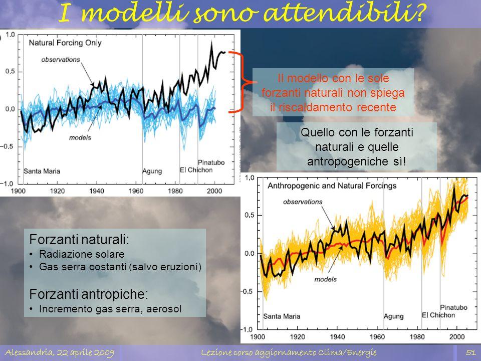 Alessandria, 22 aprile 2009Lezione corso aggiornamento Clima/Energie51 I modelli sono attendibili? Forzanti naturali: Radiazione solare Gas serra cost