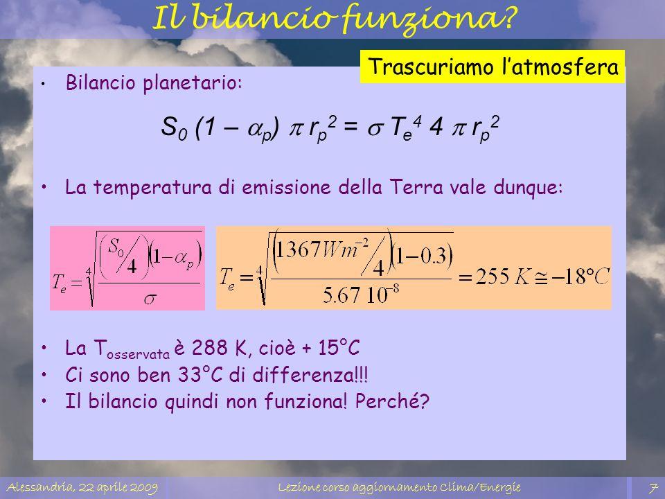 Alessandria, 22 aprile 2009Lezione corso aggiornamento Clima/Energie7 Il bilancio funziona? Bilancio planetario: S 0 (1 – p ) r p 2 = T e 4 4 r p 2 La