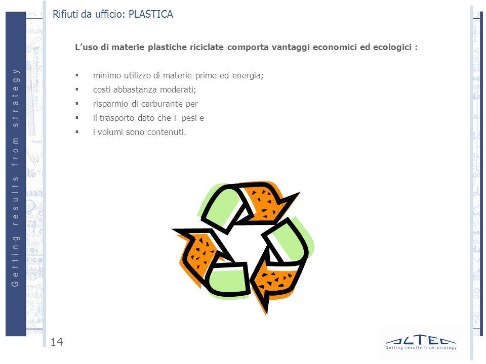 Luso di materie plastiche riciclate comporta vantaggi economici ed ecologici : minimo utilizzo di materie prime ed energia; costi abbastanza moderati;