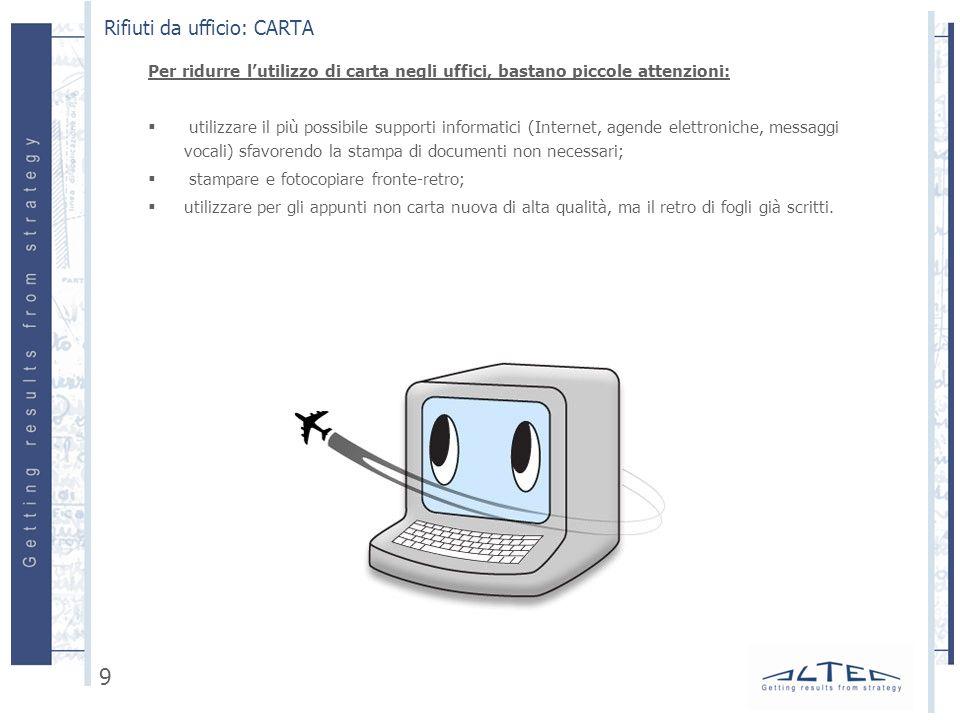 Per ridurre lutilizzo di carta negli uffici, bastano piccole attenzioni: utilizzare il più possibile supporti informatici (Internet, agende elettronic