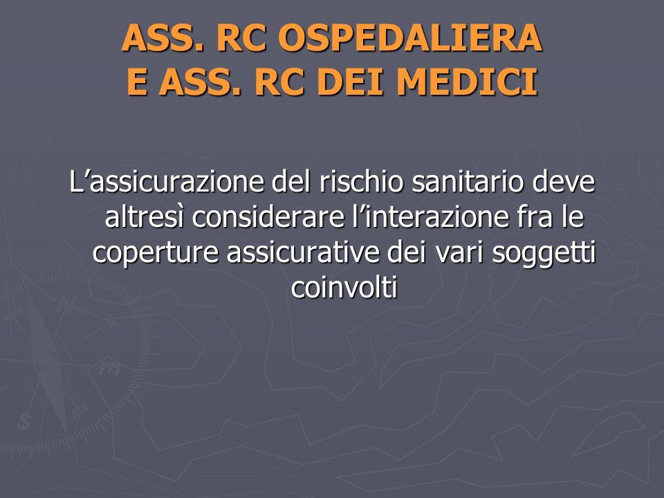 ASS. RC OSPEDALIERA E ASS. RC DEI MEDICI Lassicurazione del rischio sanitario deve altresì considerare linterazione fra le coperture assicurative dei