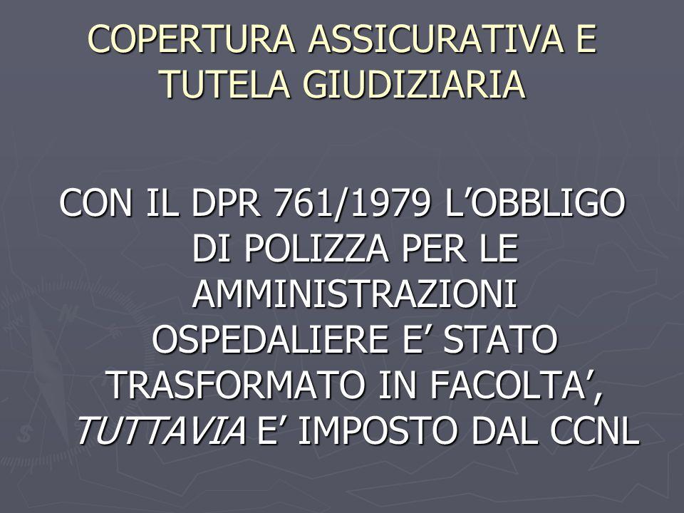 COPERTURA ASSICURATIVA E TUTELA GIUDIZIARIA CON IL DPR 761/1979 LOBBLIGO DI POLIZZA PER LE AMMINISTRAZIONI OSPEDALIERE E STATO TRASFORMATO IN FACOLTA,