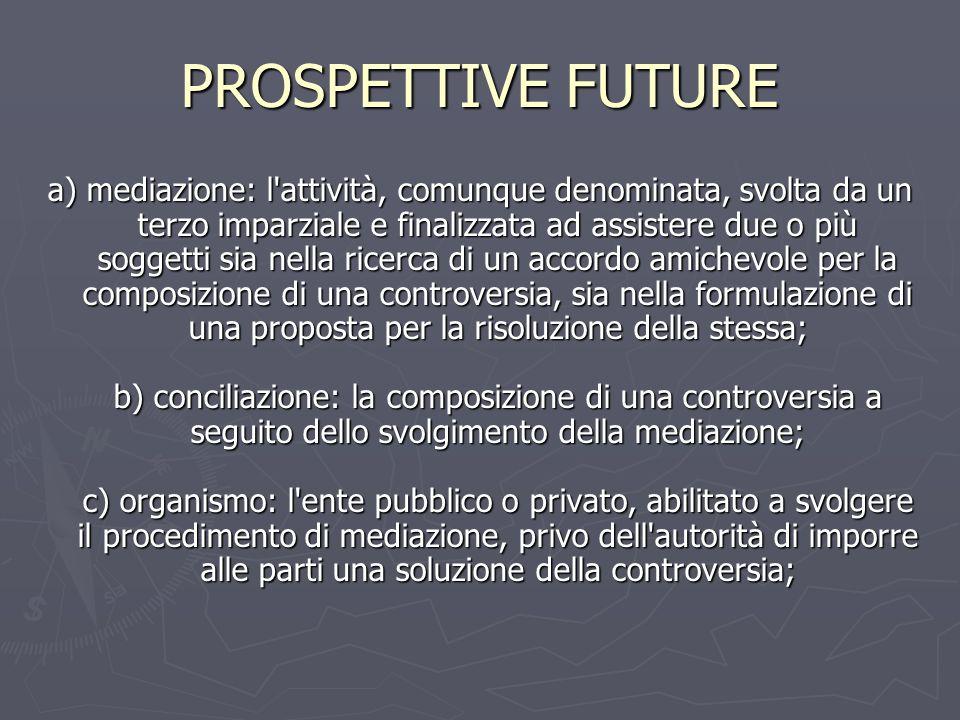 PROSPETTIVE FUTURE a) mediazione: l'attività, comunque denominata, svolta da un terzo imparziale e finalizzata ad assistere due o più soggetti sia nel