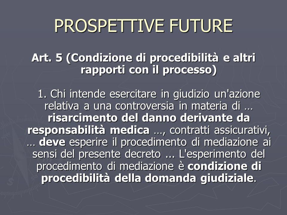 PROSPETTIVE FUTURE Art. 5 (Condizione di procedibilità e altri rapporti con il processo) 1. Chi intende esercitare in giudizio un'azione relativa a un