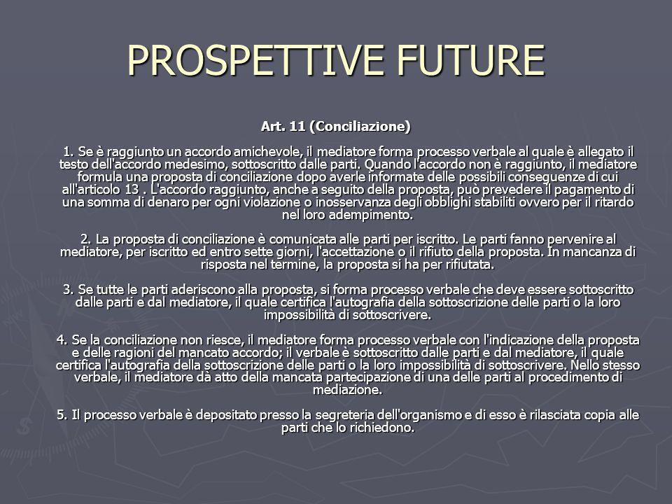PROSPETTIVE FUTURE Art. 11 (Conciliazione) 1. Se è raggiunto un accordo amichevole, il mediatore forma processo verbale al quale è allegato il testo d