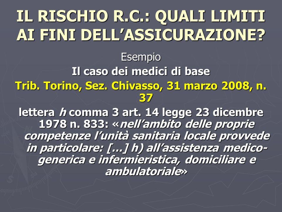 IL RISCHIO R.C.: QUALI LIMITI AI FINI DELLASSICURAZIONE? Esempio Il caso dei medici di base Trib. Torino, Sez. Chivasso, 31 marzo 2008, n. 37 lettera