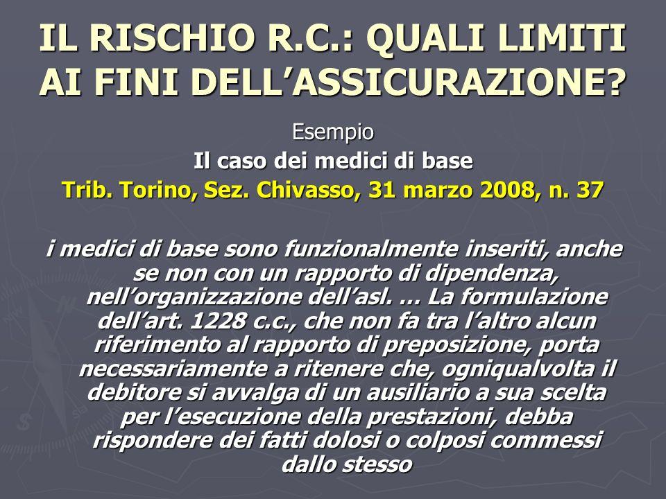 IL RISCHIO R.C.: QUALI LIMITI AI FINI DELLASSICURAZIONE? Esempio Il caso dei medici di base Trib. Torino, Sez. Chivasso, 31 marzo 2008, n. 37 i medici