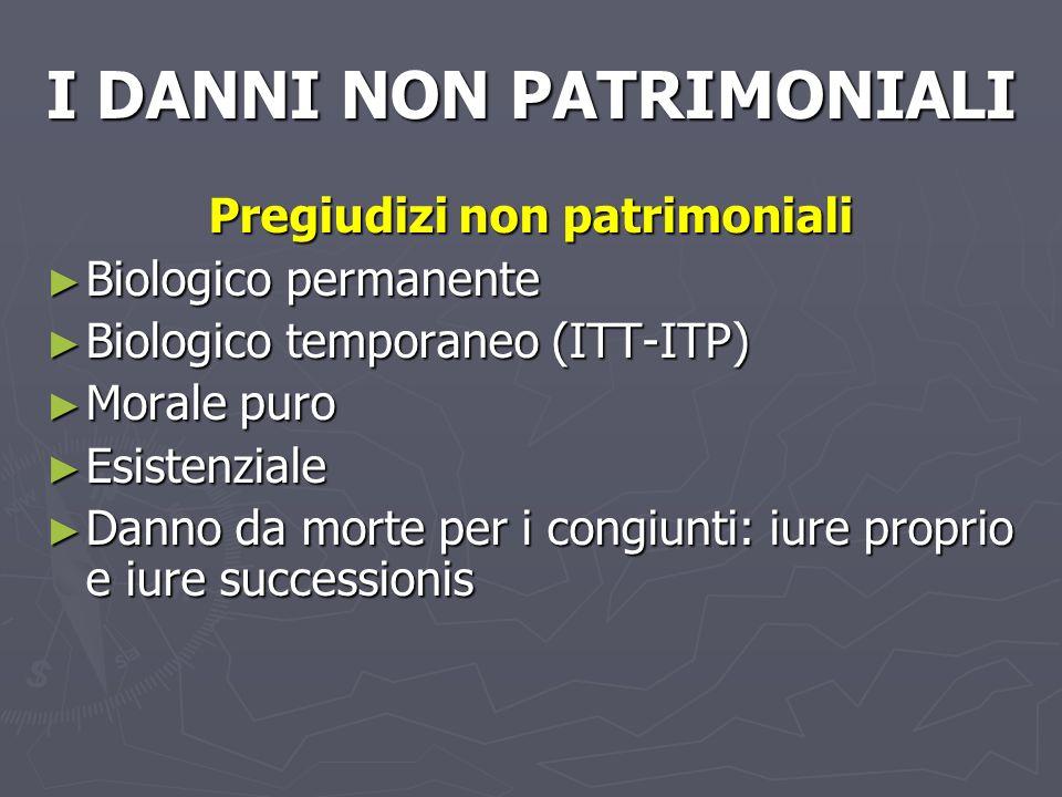 I DANNI NON PATRIMONIALI Pregiudizi non patrimoniali Biologico permanente Biologico permanente Biologico temporaneo (ITT-ITP) Biologico temporaneo (IT