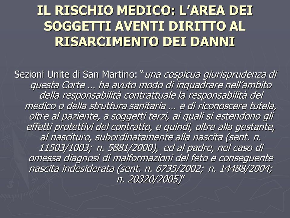 IL RISCHIO MEDICO: LAREA DEI SOGGETTI AVENTI DIRITTO AL RISARCIMENTO DEI DANNI Sezioni Unite di San Martino: una cospicua giurisprudenza di questa Cor
