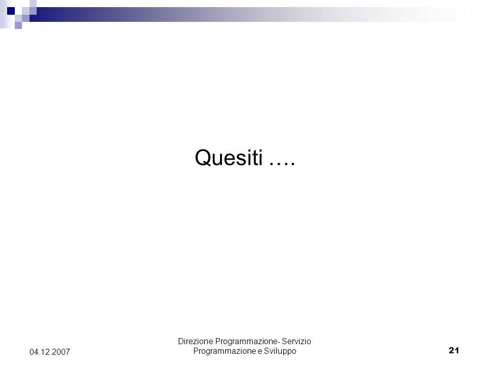 Direzione Programmazione- Servizio Programmazione e Sviluppo21 04.12.2007 Quesiti ….