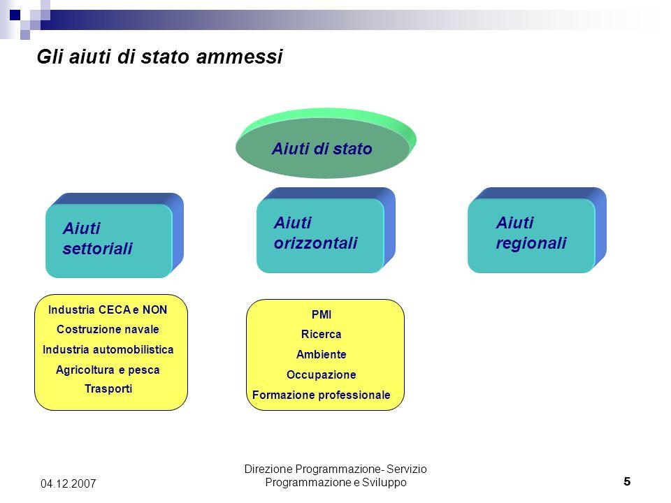 Direzione Programmazione- Servizio Programmazione e Sviluppo26 04.12.2007 Quali sono gli aiuti che possono essere concessi alle Grandi Imprese nelle zone non assistite.