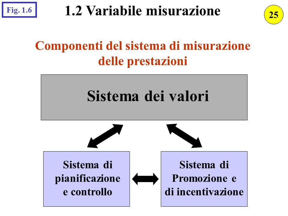 1.2 Variabile misurazione Componenti del sistema di misurazione delle prestazioni Sistema dei valori Sistema di pianificazione e controllo Sistema di