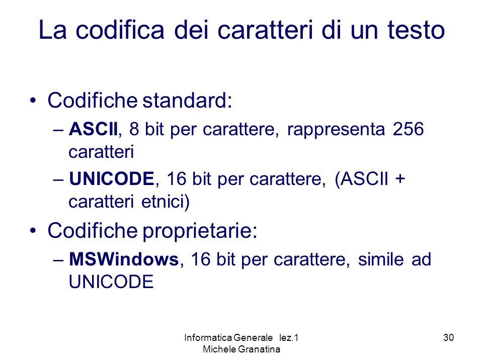 Informatica Generale lez.1 Michele Granatina 30 Codifiche standard: – ASCII, 8 bit per carattere, rappresenta 256 caratteri – UNICODE, 16 bit per carattere, (ASCII + caratteri etnici) Codifiche proprietarie: – MSWindows, 16 bit per carattere, simile ad UNICODE La codifica dei caratteri di un testo