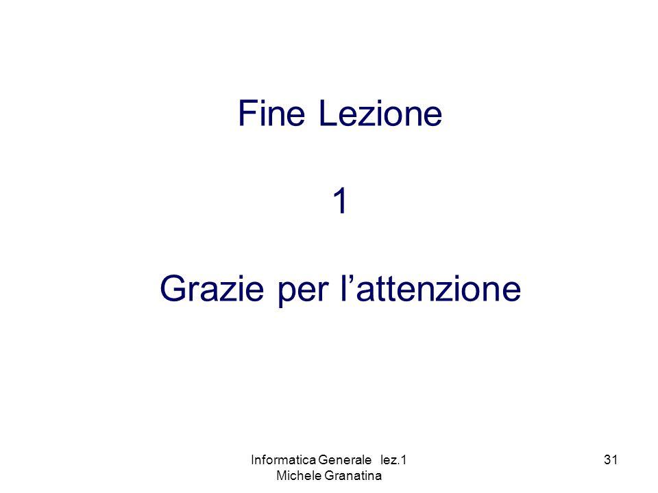 Informatica Generale lez.1 Michele Granatina 31 Fine Lezione 1 Grazie per lattenzione
